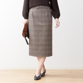 Rouge vif ルージュ・ヴィフ ベルト付きグレンチェックタイトスカート