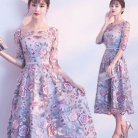 パーティードレス結婚式ドレス袖ありウエディングドレスレース花柄刺繍着痩せ大人可愛いおしゃれお呼ばれ食事会二次会披露宴卒業