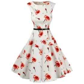 Romancly 女性の花の印刷を受け入れるウエストミニエレガントビッグ裾ドレス AS16 M