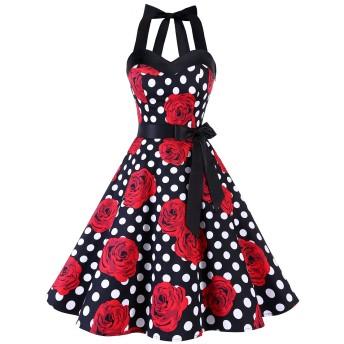 Dresstell(ドレステル) レトロワンピース 50年代 ドレス 水玉 ホルターネック リボン aライン レディース ローズドット Sサイズ