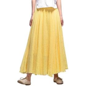レディース ロングスカート リネンスカート 17色 マキシ丈 20代 30代 (95cm, 14)