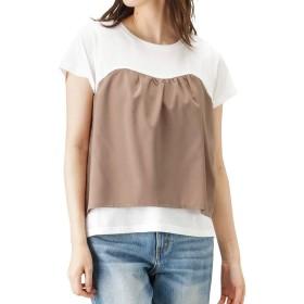 Free Nature(フリーネイチャー) ビスチェ風 プルオーバー 半袖 プルオーバー Tシャツ 115526242 レディース ホワイト×ベージュ:L