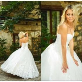 ウェディングドレス/ステージ衣装 美しいスウィートハートレースボールウェディングドレスレースアップホワイトアイボリーの花嫁衣裳NEW