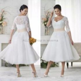 ウェディングドレス Vestidos De Noviasプラスサイズ半スリーブウェディングドレスショートブライダルガウンティー