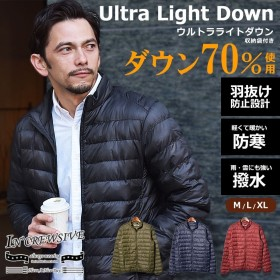 ライトダウンジャケット メンズ アウター ジャケット ポケッタブル 撥水 軽量 上着 中綿 収納 コンパクト インクルーシブ