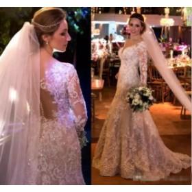 ウェディングドレス/ステージ衣装 シャイニービーズレースアップリケウェディングドレスホワイト/アイボリーマーメイド2017ブライダルド