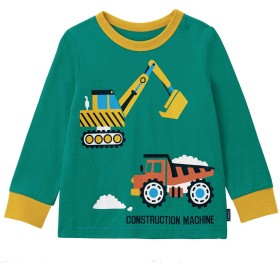 [ベルメゾン] はたらくくるま 長袖 Tシャツ グリーン(ショベルカー・ダンプカー) サイズ:80