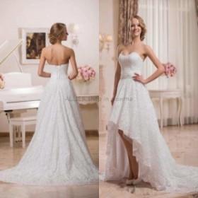 ウェディングドレス/ステージ衣装 NEWハイローフルレースウェディングドレスセクシーなショートホワイト/アイボリービーチブライダルドレ