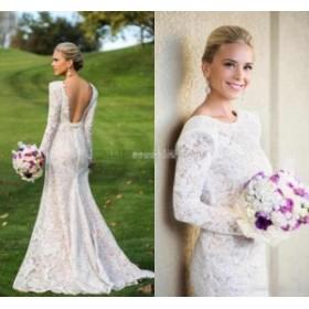 ウェディングドレス/ステージ衣装 オープンバックレースマーメイドのウェディングドレス2017ロングスリーブホワイトアイボリーの花嫁衣装