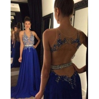 ウェディングドレス ロイヤルブルーバックレスシフォンロングフォーマルイブニングドレス