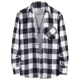 [CEEN] ネルシャツ メンズ 長袖 チェック フランネル 綿 カジュアル 9色展開