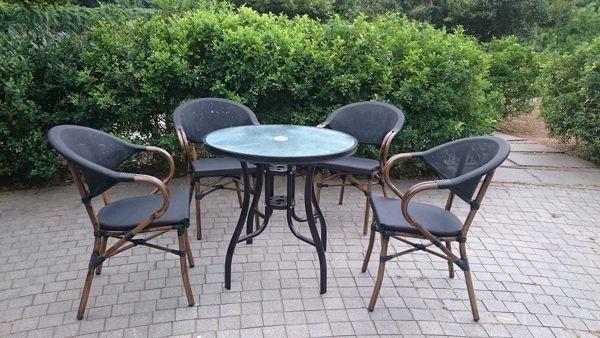 兄弟牌星巴克鋁合金休閒椅4張+80cm鋁合金圓桌/組,強韌度紗網編織包覆佳舒適~骨架戶外不生鏽!