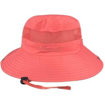 Fintier 男女兼用 シンプルな サファリハット 日よけ帽子 バケットハット つば広ハット テンガロンハット ひも付き ユニセックス 通気性 メッシュ帽 吸湿速乾 登山 釣り スポーツ アウトドア