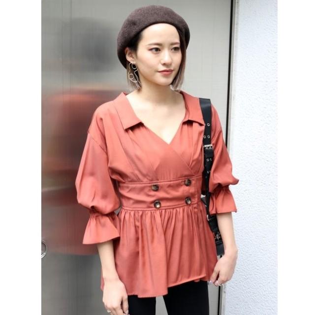 【ムルーア/MURUA】 カシュクールギャザーシャツ