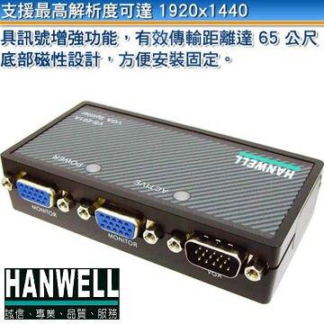 [富廉網] HANWELL 捍衛科技 VS-201A 1對2 VGA 視訊同步分配器