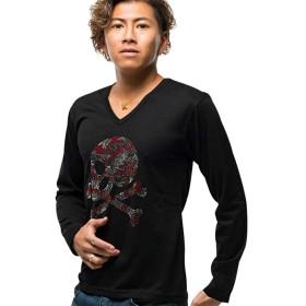 (キャバリア)CavariA メンズ Vネック 長袖 Tシャツ 迷彩 カモフラージュ スカル ドクロ ラインストーン 46(L) 90(BLK-A/ブラックA)【-】