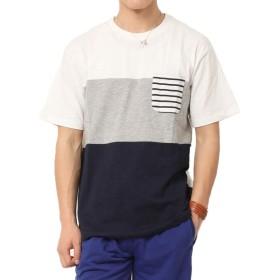 (アーケード) ARCADE Tシャツ メンズ シンプル 切替 クレイジー 配色 ボーダーT デザイン キレイめ M ホワイト
