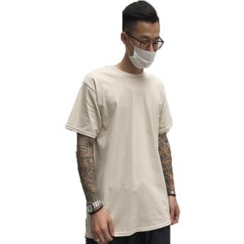 RiHeng メンズ半袖 Tシャツ 吸汗速乾 無地 半袖 シンプル カジュアル ゆったり おしゃれ 薄手 涼しい (S, ベージュ)