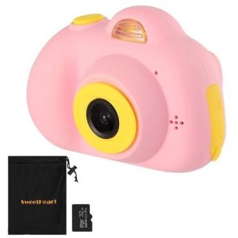 SweetHeart 子供用デジタルカメラ 子供プレゼント 前後800万画素 2.0インチIPS画面 多機能 子供カメラ (32GB容量MicroSDカード付き, ピンク)