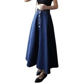 (アイノウ)AINOR レディース デニム フレア ロング スカート Aライン 幅広い ドレス カジュアル 森ガール 可愛い 感性 ゆったり 着痩せ