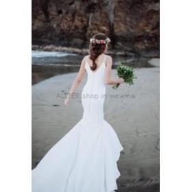 ウェディングドレス セクシーなマーメイドスパゲティスプリットサテンウェディングドレスクリスタルサッシュブライダルドレス