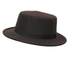 フェルトハット カンカン帽 帽子 メンズ レディース ブラウン 春 秋 冬 ポリフェルト ハット フェイクウール 日本製