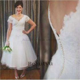 ウェディングドレス/ステージ衣装 ヴィンテージショートレースVネックガーデンウェディングドレスホワイト/アイボリーチュールブライダル