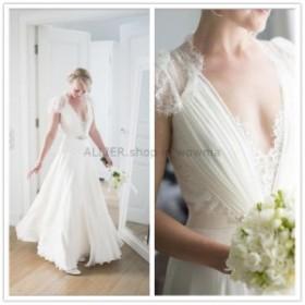 ウェディングドレス キャップスリーブレースBohoウェディングドレスシフォンエレガントなブライダルドレス