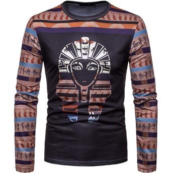chenshiba-JP エジプトファラオTutankhamunエジプトエジプトギフトメンズロングスリーブクルーネックTシャツ 1 S