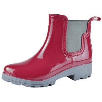[BARYPORY] サイドゴア レインブーツ 雨靴 レディース ロング レインシューズ 歩きやすい 長靴 ロングブーツ オシャレ 美脚 滑り止め おしゃれ 防水 梅雨対策 (25.0cm, レッド)