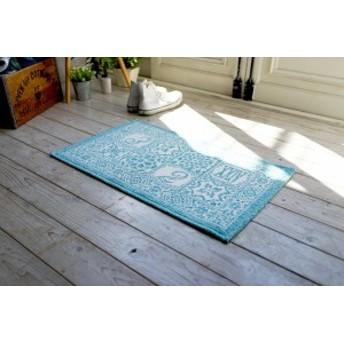 スミノエ カランバン織 ラグ サレ 65×115cm ブルー