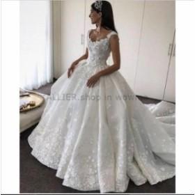 ウェディングドレス/ステージ衣装 魅力的な3D花NEWAラインウェディングドレスホワイト/アイボリーチャペルトレーンブライダルドレス