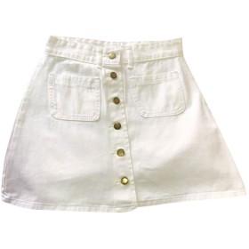 ミニ スカート デニム ポケット付き ハイウエスト フロントボタン Aライン ショート 無地 ボトムス フレアスカート 膝上 かわいい レディース 学生 通学 カジュアル