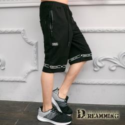 【Dreamming】雙線環字透氣鬆緊運動休閒短褲(黑色)