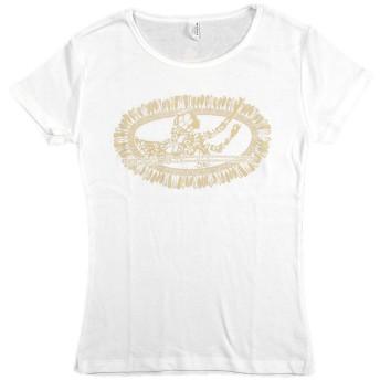 (ムームーママ) MuuMuuMama Tシャツ ホワイトジンジャーレイ 白×ベージュ Mサイズ