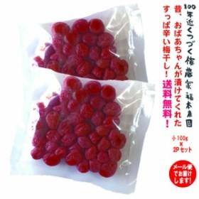 【送料無料】梅干し (小粒・小梅)100g×2パック メール便でお届けします 酸っぱい 辛い 昔のしそ漬け! おかず 定番 最強 紫蘇梅 しそ