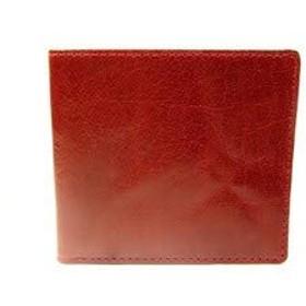 薄型 スリム 二つ折り財布 バッファロー革 (ワイン)