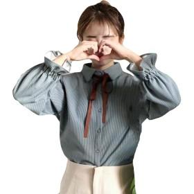 Alhyla レディース シャツ トップス 韓国風 ゆったり 春 秋冬 着痩せ 学生 ブラウス 可愛い 森ガール 折り襟 通学 きれいめ カジュアルシャツ シンプル 無地 フリーサイズブルーF