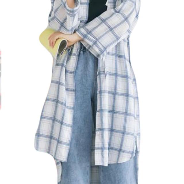 YiTong レディース ワンシャツ 夏 秋 長袖 シャツ シンプル ブラウス ゆったり アウター おしゃれ トップス チェック シャツ 薄手 通気 日焼け止め 紫外線防止ホワイト