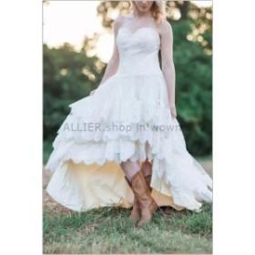 ウェディングドレス/ステージ衣装 NEWレースハイロースウィートハートのウェディングドレスショートホワイト/アイボリーカントリーブライ