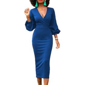 YACUN 女性の3/4のスリーブスリーブペンシルドレスカクテルパーティー事務所 Blue XL