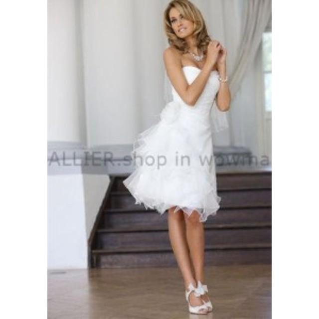 ウェディングドレス/ステージ衣装 シンプルなオーガンジービーチウェディングドレスストラップレス膝丈ブライダルガウン4 6 8+