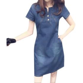 Kankanluck 女性膝丈Vネックワイルドファッション夏カウボーイショートドレス Dark Blue XL