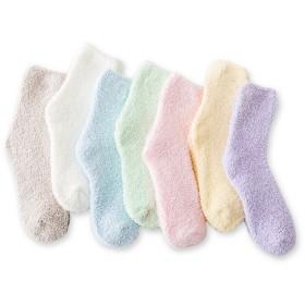 女性の居心地の良いスリッパソックスファジー靴下7対(無地の、21cm-25cm)