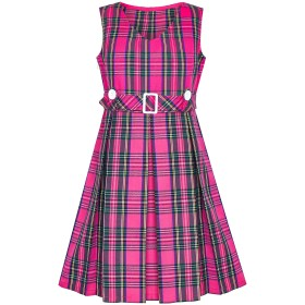 子供ドレス フォーマルドレス 入学式 チェック柄ドレス ピンク ボタン バック プリーツの 裾 140cm