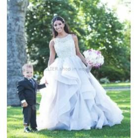 ウェディングドレス/ステージ衣装 NEWレースオーガンジーAラインウェディングドレスチャーミングホワイト/アイボリーガーデンブライダル