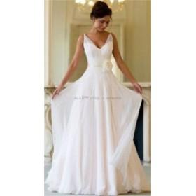 ウェディングドレス シフォンビーチウェディングドレスVネックブライダルドレス手作りフラワーサッシカスタムサイズ
