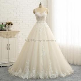 ウェディングドレス/ステージ衣装 シャンパンアップリケチュールAラインウエディングドレスゴージャスノースリーブブライダルドレス