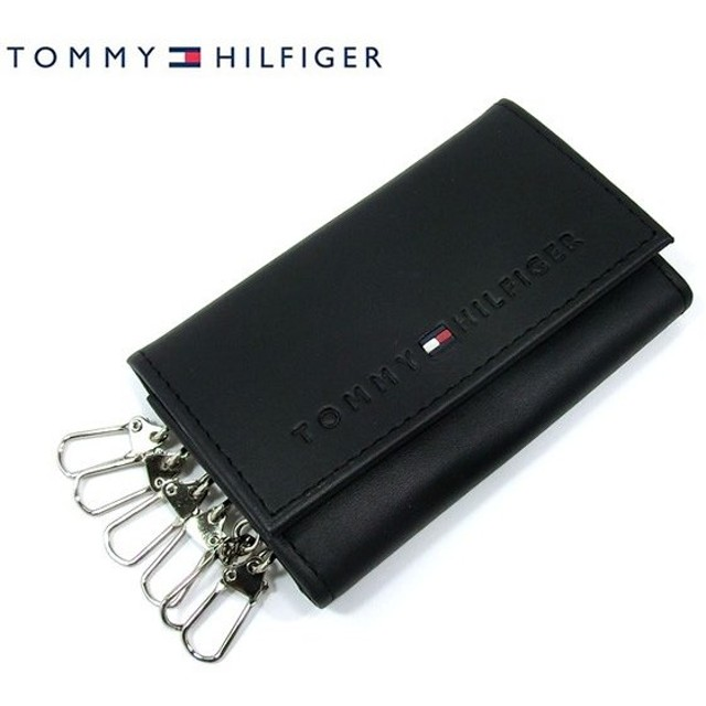 【アウトレット】トミーヒルフィガー キーケース 6連 / ブラック レザー TOMMY HILFIGER 31TL17X005 94-4858