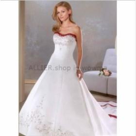ウェディングドレス/ステージ衣装 ストラップレスクリスタルチャペルトレーンAラインウェディングドレス白と赤の花嫁衣装